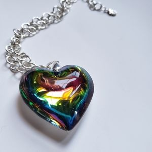 Jewelry - * Large rainbow heart necklace silver